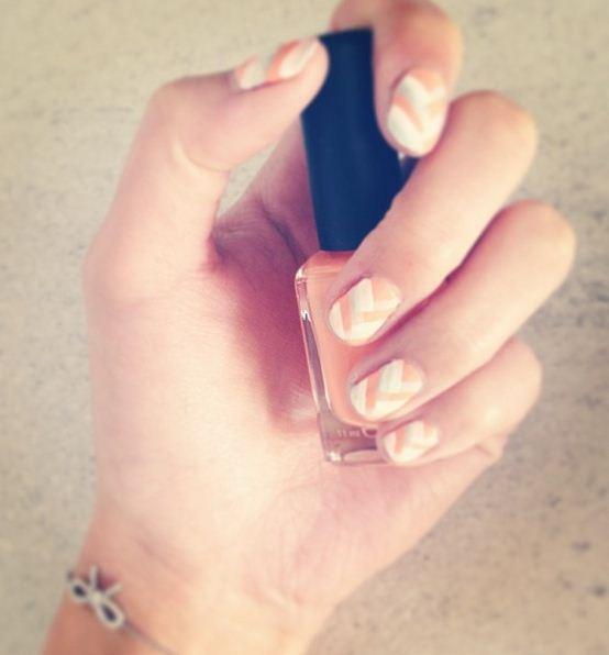 chevron nail art pastel colors