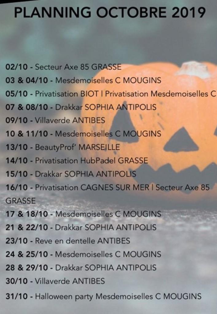Planning octobre